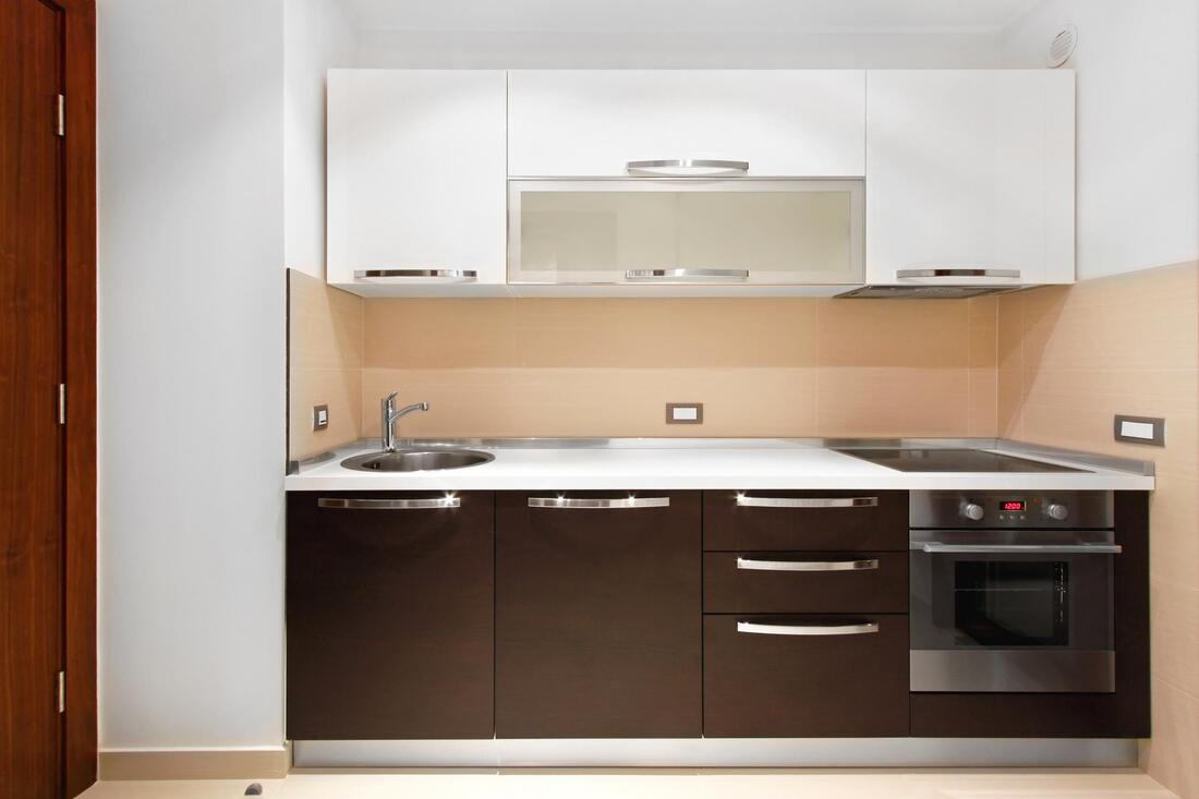 white and brown cabinets