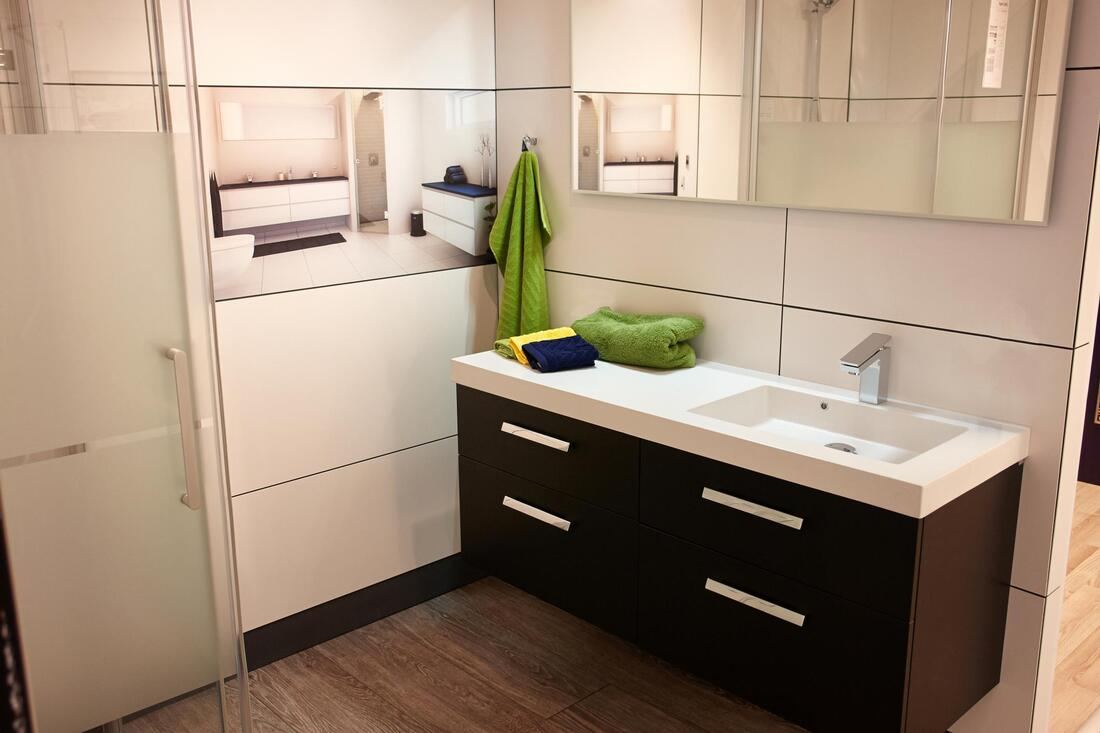 cabinet with green towel